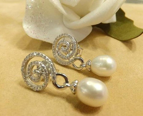 Drop white topaz and natural pearl earring