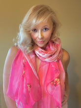 Load image into Gallery viewer, Long pink theme silk scarf