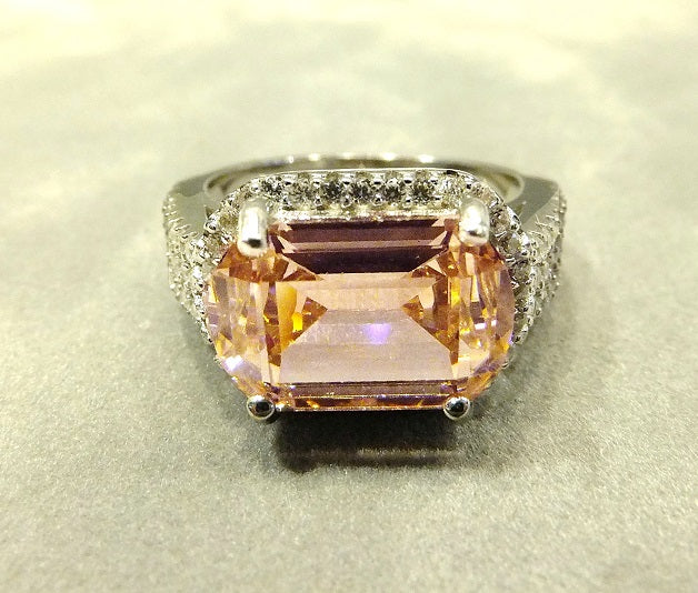 Pink zircon gemstone ring