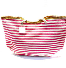 Load image into Gallery viewer, Back side of pink and white beach bag