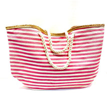 Load image into Gallery viewer, Pink and white stripe beach bag