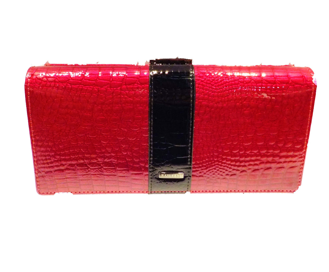 Ladies red leather wallet with black trim
