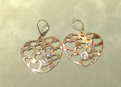 Heart drop rose gold and sterling silver earrings