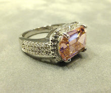 Load image into Gallery viewer, side view of pink zircon ring