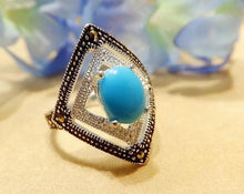 Load image into Gallery viewer, Sleeping beauty turquoise ring in blacken sterling silver - butlercollection