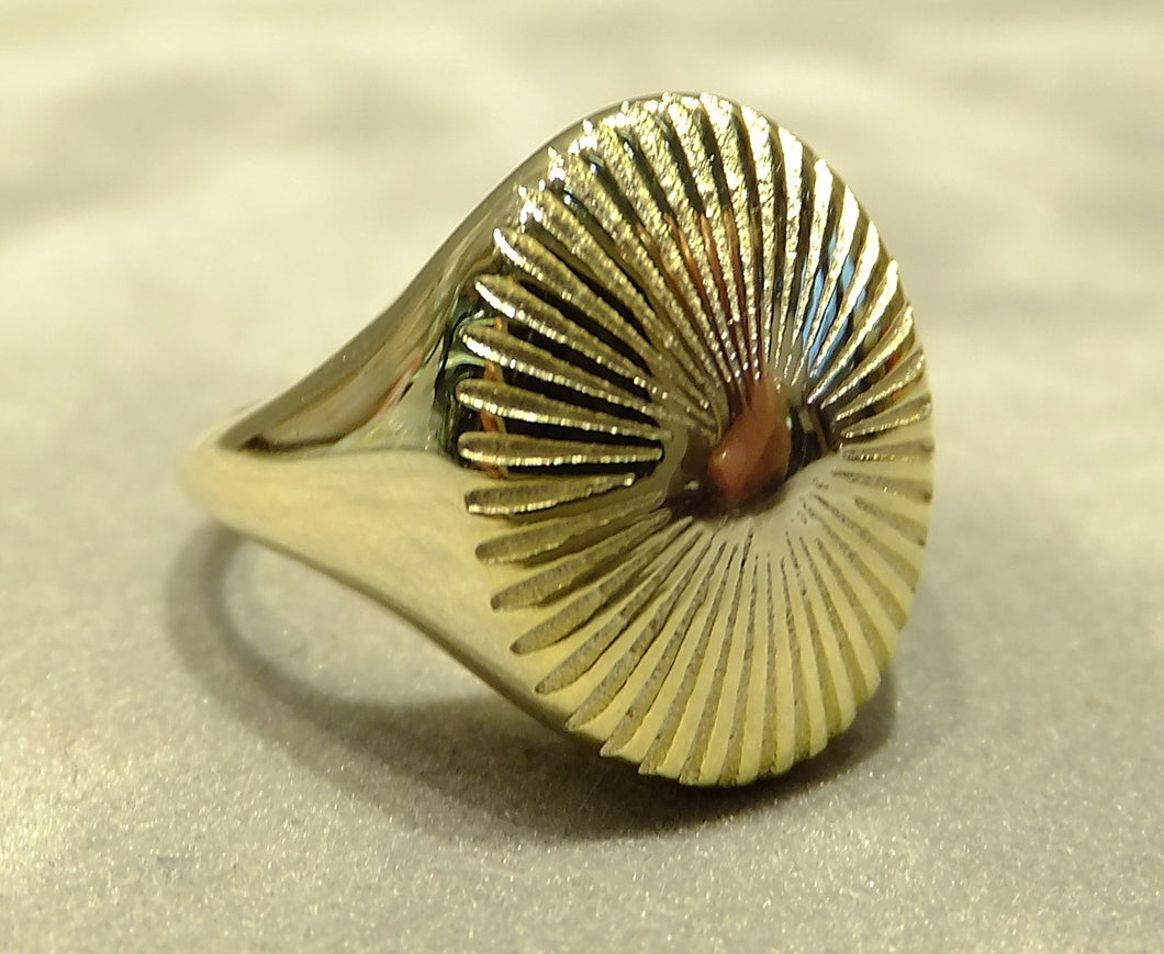 Gold and sterling silver plain ring