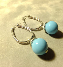 Load image into Gallery viewer, Sterling silver Turquosie Agate gemstone earrings
