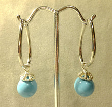 Load image into Gallery viewer, Sterling silver drop Turquosie agate earrings