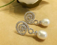 Load image into Gallery viewer, Natural White Pearl and White Topaz Gemstone Drop Earrings - butlercollection