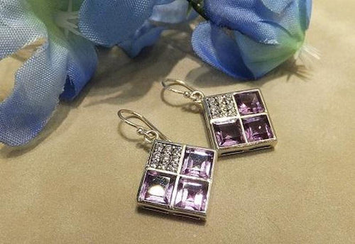 Sterling Silver diamond-shaped Amethyst and White Topaz gemstone earrings