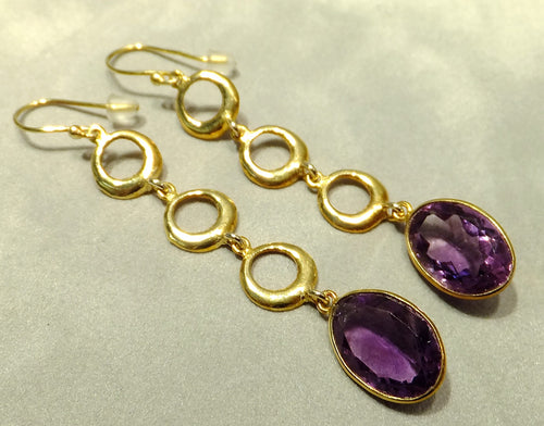 Golden long drop amethyst earrings