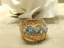 Load image into Gallery viewer, Blue topaz and aquamaine gemstone ring
