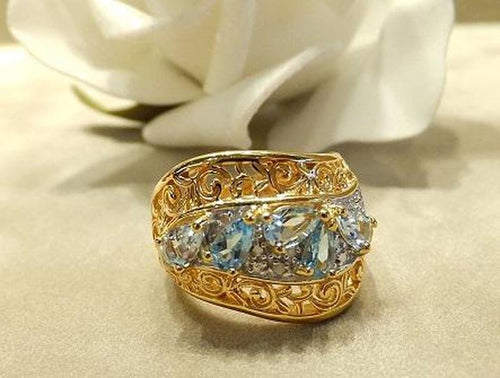 Blue topaz and aquamaine gemstone ring