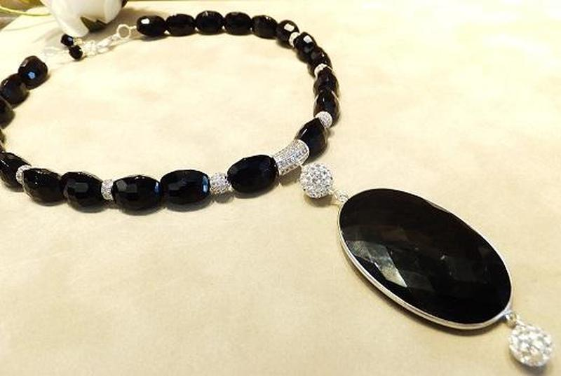 black onyx necklace with crystal