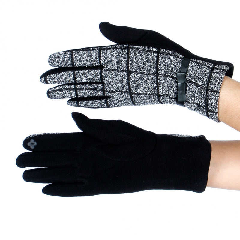 Black and White Print Gloves with checkered pattern and faux leather ribbon.
