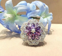 Load image into Gallery viewer, Amethyst and blue topaz gemstone ring