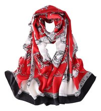 Load image into Gallery viewer, Red theme Satin silk belt theme scarf