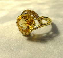 Load image into Gallery viewer, Golden Citrine and diamond gemstone ring