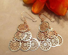 Load image into Gallery viewer, Drop sterling silver disc earrings