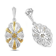 Load image into Gallery viewer, Yellow and white diamond earrnigs