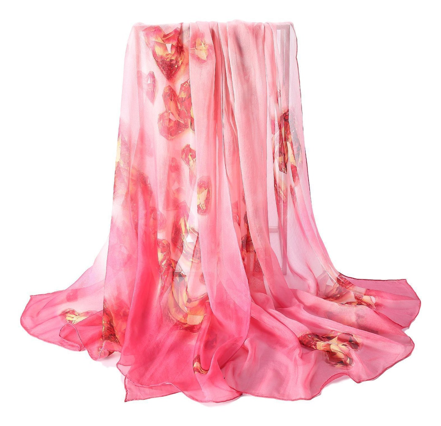 Pink Heart theme silk scarf