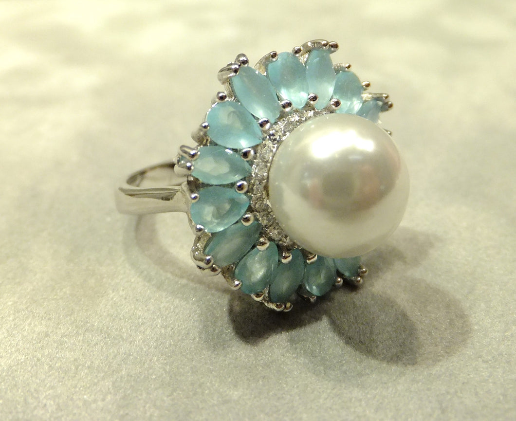 flower pearl and gemstone ring