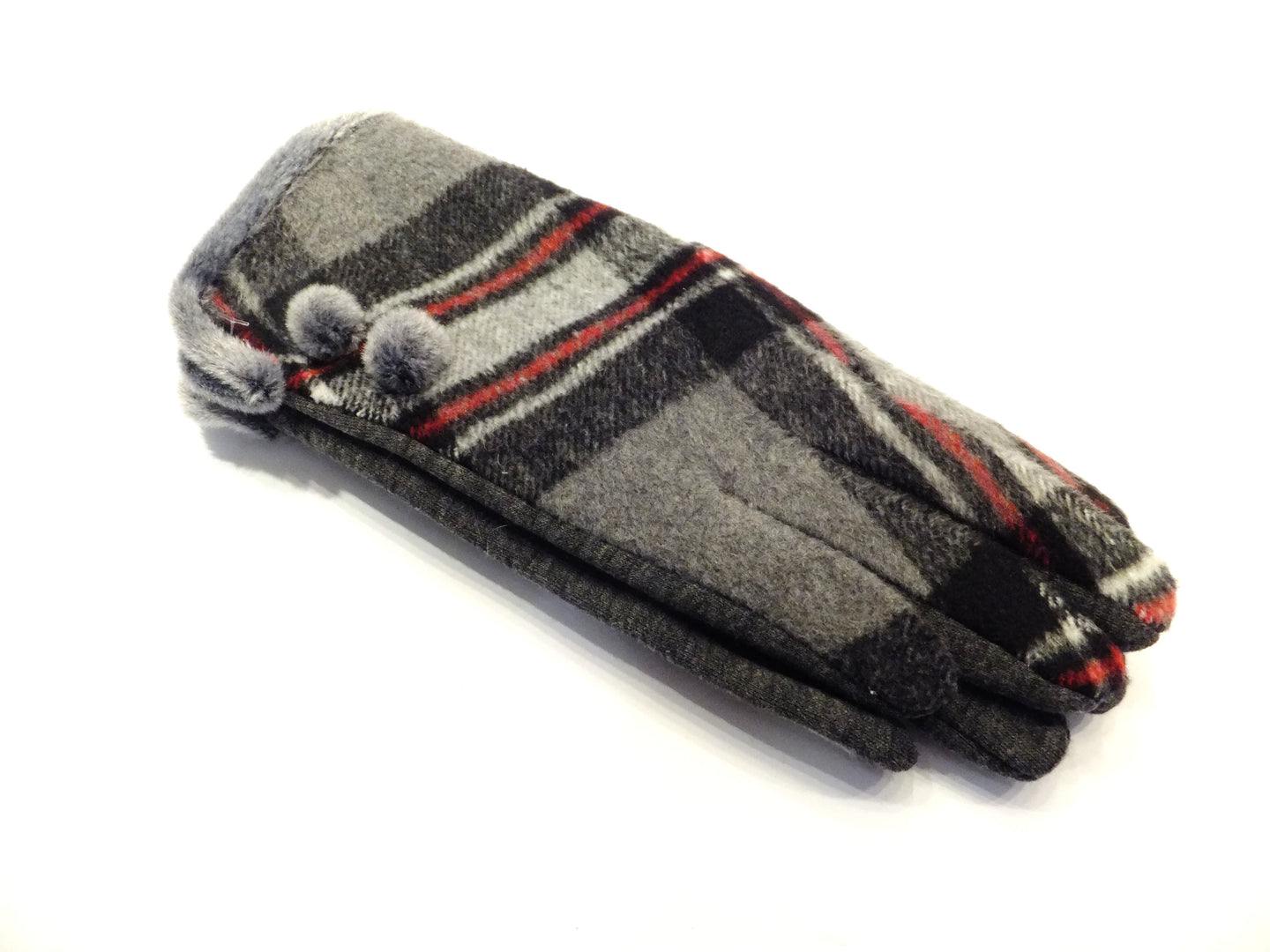Grey and red plaid ladies glove