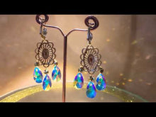 Load and play video in Gallery viewer, Tri gold and Swarovski crystal earrings