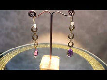 Load and play video in Gallery viewer, video of long amethyst and gold earrings