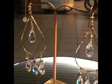 Load and play video in Gallery viewer, Swarovski Crystal and 14 K Gold Teardrop Earrings