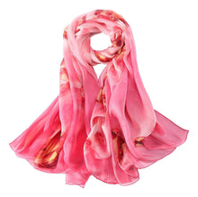 Load image into Gallery viewer, Large pink theme with hearts silk scarf
