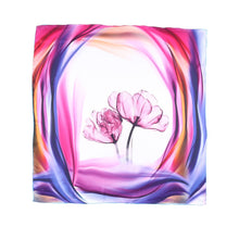 Load image into Gallery viewer, Pink theme silk scarf with flower center