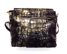 Load image into Gallery viewer, Back view of black and gold Italian leather bag