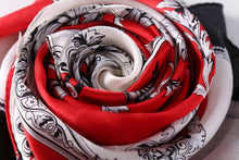 Load image into Gallery viewer, Long satin silk red theme scarf