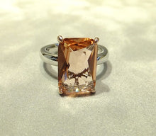 Load image into Gallery viewer, Morganite gemstone ring in sterling silver