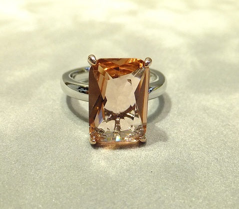 Morganite gemstone ring in sterling silver