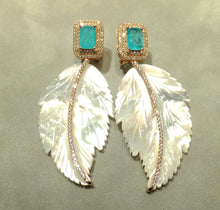 Load image into Gallery viewer, Aqua parabia tourmaline and mother of pearl drop earrings