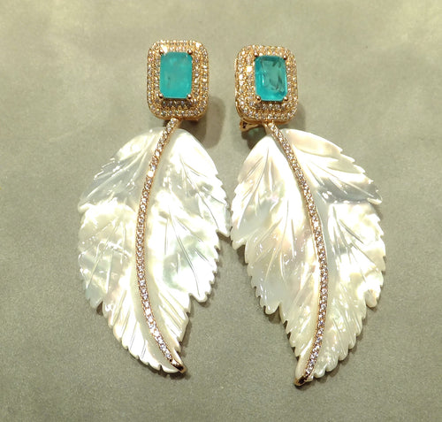 Aqua parabia tourmaline and mother of pearl drop earrings