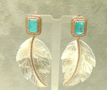 Load image into Gallery viewer, rose gold and mother of pearl earrings