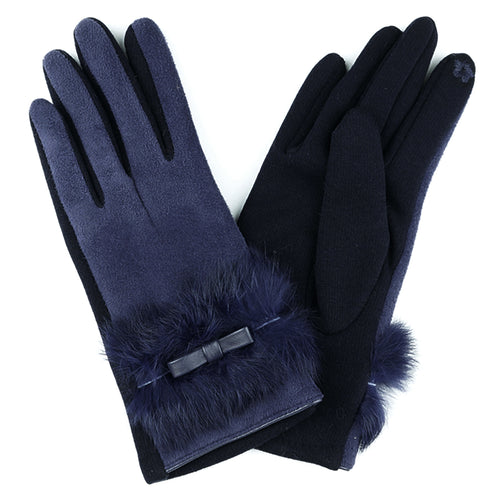Navy blue faux suede glove