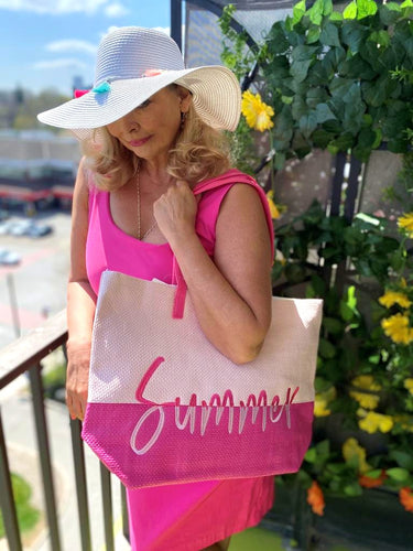 Pink summer beach bag