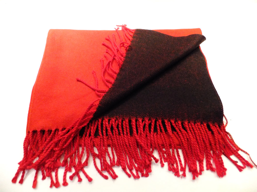 Red and black cashmere scarf
