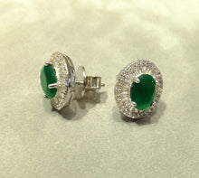 Load image into Gallery viewer, Indian Emeralds and White Topaz Gemstone Stud Earrings