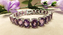 Load image into Gallery viewer, Sterling silver amethyst gemstone bracelet