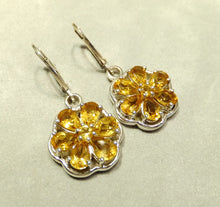 Load image into Gallery viewer, Sterling silver and citrine flower earrings