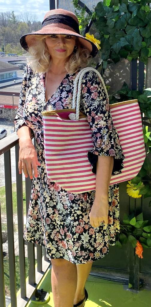 Pink and white stripe beach bag