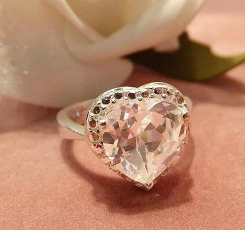 White topaz heart gemstone ring