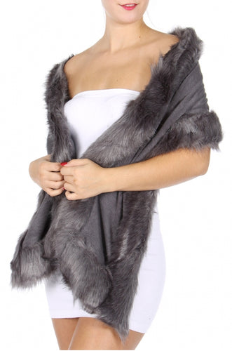 Grey knit wrap with faux fur trim