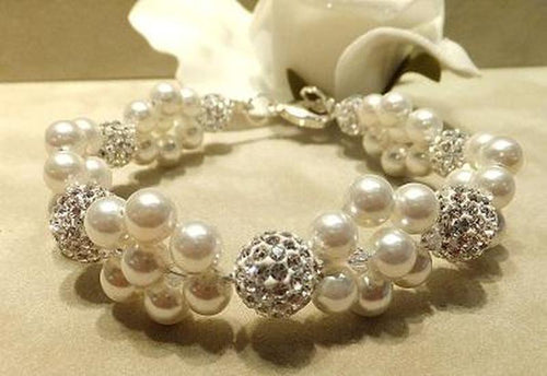 Woven crytsal and pearl bracelet