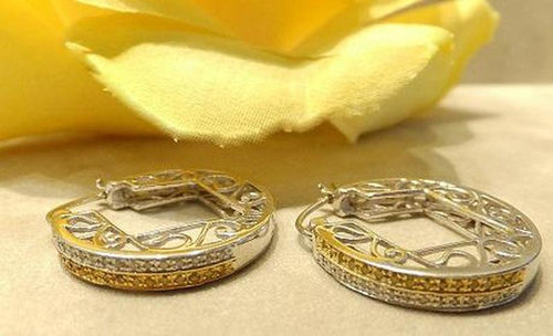 White and yellow diamond earrings